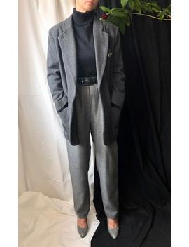 Vintage Wool Oversized Blazer For Women Size S | Wool | Cashmere Grey Blazer by Etsy