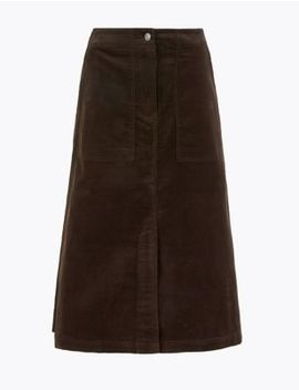 Needlecord A Line Midi Skirt by Marks & Spencer