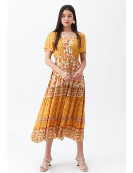 Boho Bomshell Floral Maxi Dress In Mustard by Chicwish