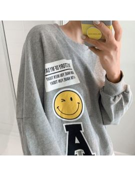 Discosalon   Printed Layered Hem Oversized Sweatshirt by Discosalon
