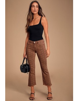 The Varick Brown Snake Print Mid Rise Cropped Jeans by Blank Nyc
