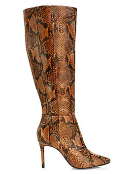 Magalli Knee High Snakeskin Embossed Leather Boots by Schutz
