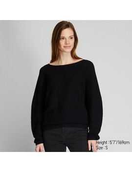 Women 3 D Seamless Knit Cotton Volume Sleeved Jumper (4) by Uniqlo