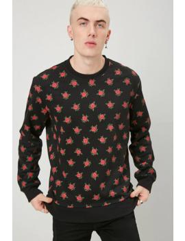 Rose Print Fleece Sweatshirt by Forever 21