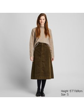 Women Corduroy High Waisted Midi Skirt (3) by Uniqlo
