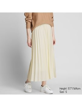 Women High Waisted Pleated Maxi Skirt (14) by Uniqlo