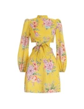 Zinnia Bow Cut Out Short Dress by Zimmermann