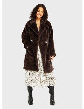 Brown Plush Overcoat by Miss Selfridge