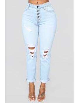 Carry Me Away High Rise Mom Jeans   Light Blue Wash by Fashion Nova