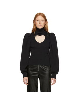 Black Heart Shaped Opening Turtleneck by Msgm