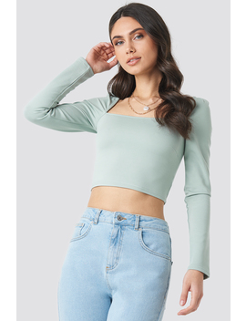 Puff Shoulder Bodycon Top Green by Na Kd Trend