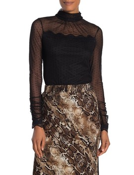 Mesh Mock Neck Blouse by Laundry By Shelli Segal