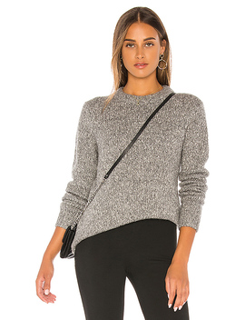 Speckled Tweed Crew Sweater In Medium Heather Grey by Theory