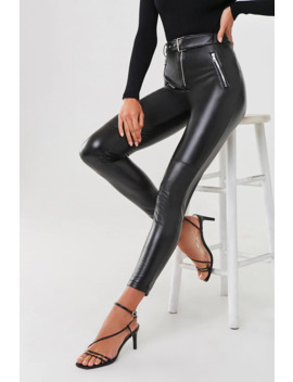 Belted Faux Leather Pants by Forever 21