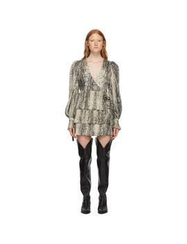 Beige & Black Twill Plisse V Neck Dress by Wandering