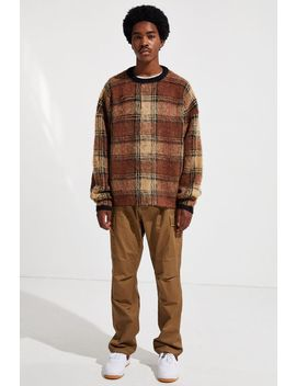 Uo Brushed Tartan Crew Neck Sweater by Urban Outfitters