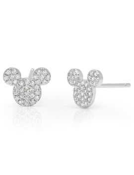 Mickey Mouse Icon Stud Earrings By Crislu   Platinum | Shop Disney by Disney