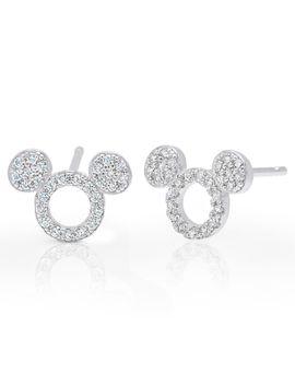 Mickey Mouse Icon Silhouette Stud Earrings By Crislu   Platinum | Shop Disney by Disney