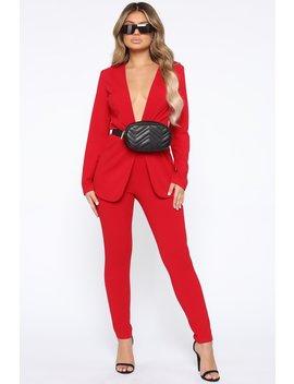 Payin' It Forward Blazer Set   Red by Fashion Nova