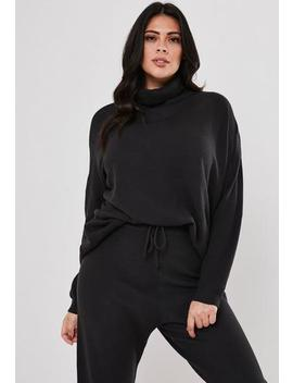 Plus Size Grey Co Ord Funnel Neck Oversized Knitted Jumper by Missguided