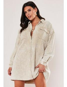 Plus Size Sand Denim Utility Shirt Dress by Missguided