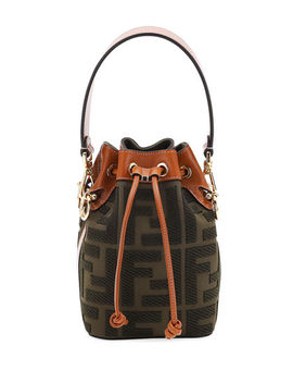 Mon Tresor Mini Ff Embroidery Bucket Bag by Fendi
