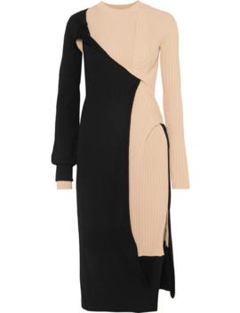 Two Tone Draped Ribbed Knit Dress by Bottega Veneta