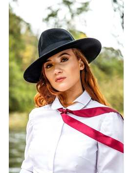 Unisex Black Wool Felt Fedora Hat by Etsy