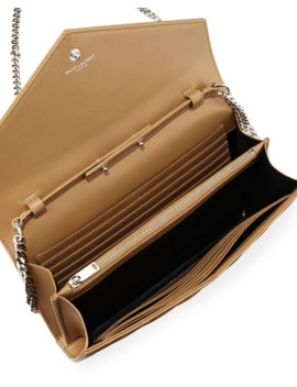 Monogram Ysl Matelasse Leather Wallet On A Chain, Beige by Saint Laurent