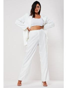 Plus Size White Seam Detail High Waisted Trousers by Missguided