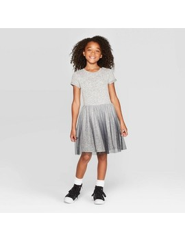 Girls' Short Sleeve Cozy Dress   Cat & Jack™ Gray by Cat & Jack