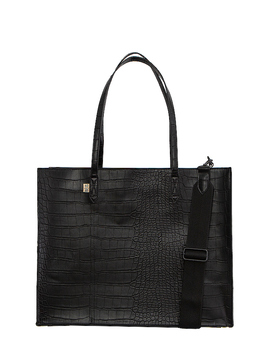 Work Tote In Black Croc by Beis