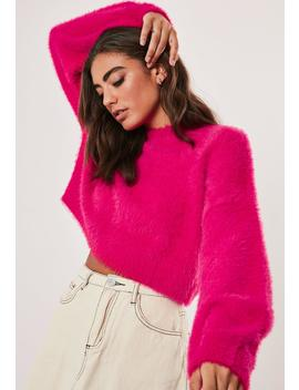 Raspberry High Neck Fluffy Balloon Sleeve Sweater by Missguided