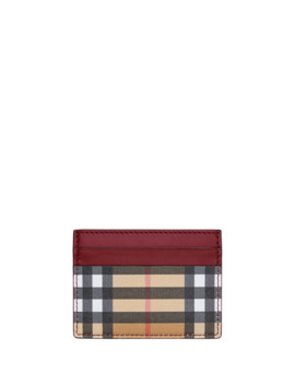 Sandon Vintage Check Card Case, Red by Burberry