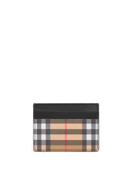 Sandon Vintage Check Card Case, Black by Burberry