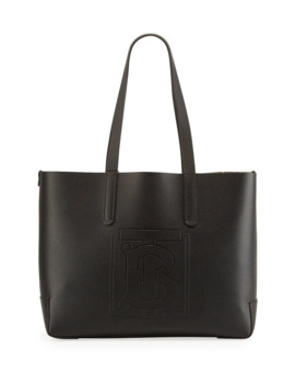 Tb Embossed Medium Tote Bag, Black by Burberry