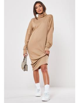 Camel Ribbed Roll Neck Midi Dress by Missguided