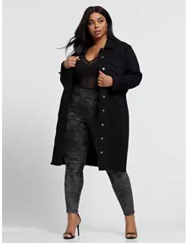 Brooke Black Long Trucker Jacket by Fashion To Figure