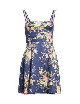 Zinnia Floral Linen Flare Dress by Zimmermann