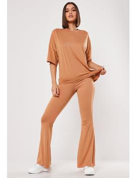 Camel Jersey Flare And Oversized Co Ord Set by Missguided