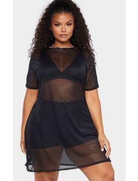 Plus Black Ribbed Bandeau Bodysuit  by Prettylittlething