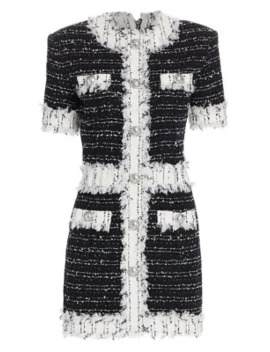 Tweed Fringe Long Sleeve Mini Dress by Balmain