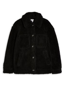 black-faux-shearling-jacket by topshop