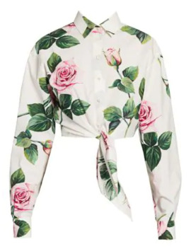 Cropped Tie Front Rose Blouse by Dolce & Gabbana