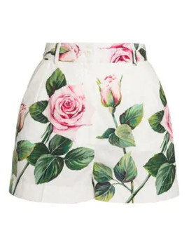 Rose Print Poplin Shorts by Dolce & Gabbana