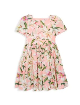 Little Girl's & Girl's Short Sleeve Floral A Line Dress by Dolce & Gabbana