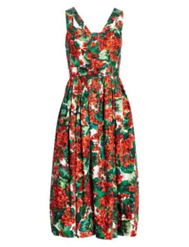 Sleeveless Floral Poplin Fit & Flare Dress by Dolce & Gabbana