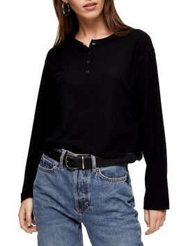 Brushed Button Down Henley Top by Topshop