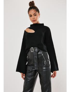 Black High Neck Keyhole Cut Out Cropped Sweater by Missguided
