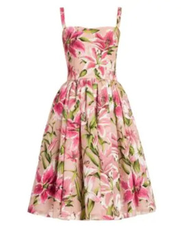 Lily Print Organza Dress by Dolce & Gabbana